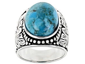 Blue Turquoise Rhodium Over Sterling Sliver Ring