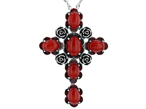 "Red Sponge Coral Rhodium Over Sterling Silver Cross Pendant With 18"" Chain"