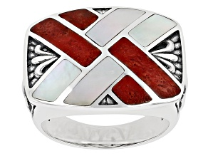 Red Coral Rhodium Over Silver Inlay Ring