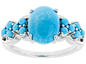 Blue Sleeping Beauty Turquoise Rhodium Over Sterling Silver Ring