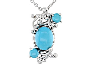 Sleeping Beauty Turquoise Rhodium Over Silver Pendant with Chain