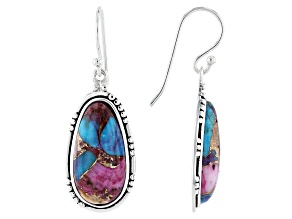 Blended Purple Spiny Oyster with Turquoise Rhodium Over Silver Earrings 20x10mm