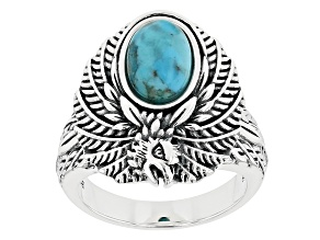 Turquoise Rhodium over Silver Ring 10x7mm