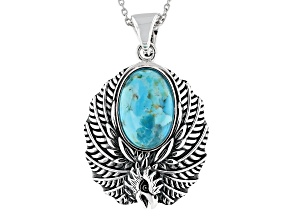 "Turquoise Rhodium over Silver Enhancer with 18"" Chain"