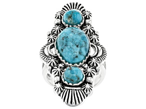 Blue Turquoise Rhodium Over Silver 3-Stone Ring