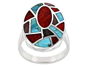 Red Coral, Turquoise and Mother-of-Pearl Rhodium Over Silver Inlay Ring