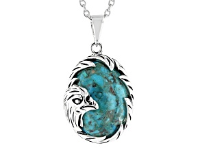 "Blue Turquoise Rhodium Over Silver Eagle Pendant With 18"" Chain"