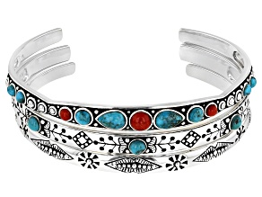 Blue Turquoise and Red Sponge Coral Sterling Silver Set of 3 Bangle Bracelets