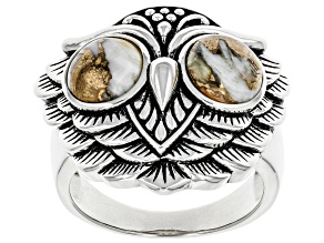 Spiny Oyster Shell Rhodium Over Sterling Silver Owl Ring