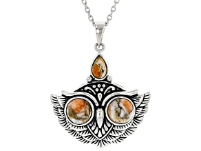 "Spiny Oyster Shell Rhodium Over Silver Owl Pendant With 18"" Chain"
