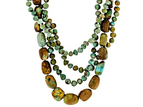 Multi-Color Turquoise In Matrix Rhodium Over Silver Necklace
