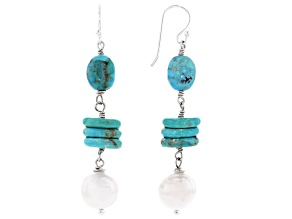 Blue Turquoise and Cultured Freshwater Pearl Rhodium Over Silver Dangle Earrings