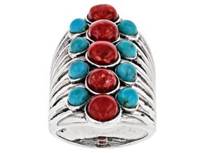 Red Coral and Turquoise Rhodium Over Sterling Silver Ring