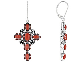 Red Sponge Coral Rhodium Over Silver Dangle Earrings