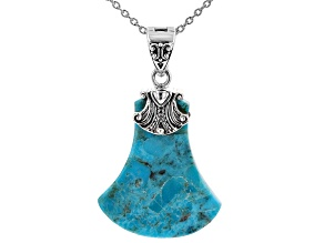 "Blue Turquoise Rhodium Over Sterling Silver Enhancer with 18"" Chain"