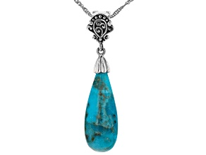 Blue Turquoise Rhodium Over Sterling Silver Drop Enhancer with Chain