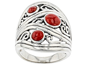 Red Sponge Coral Rhodium Over Sterling Silver 3 Stone Ring