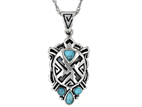"""Blue Turquoise Rhodium Over Sterling Silver Turtle Enhancer with 18"""" Chain"""