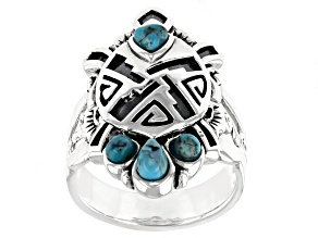 Blue Turquoise Rhodium Over Sterling Silver Turtle Ring