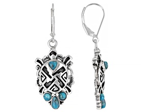 Blue Turquoise Rhodium Over Sterling Silver Turtle Earrings