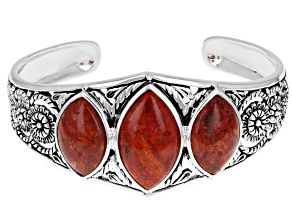 Marquise Sponge Coral Rhodium Over Sterling Silver 3-Stone Cuff Bracelet