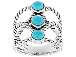 Blue Sleeping Beauty Turquoise Rhodium Over Sterling Silver 3-Stone Ring