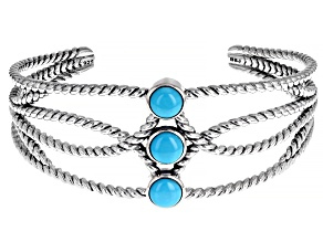 Sleeping Beauty Turquoise Rhodium Over Sterling Silver Cuff Bracelet