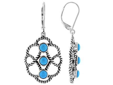 Blue Sleeping Beauty Turquoise Rhodium Over Sterling Silver Earrings