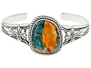 Blended Turquoise & Spiny Oyster Shell Rhodium Over Silver Cuff Bracelet