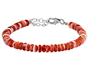 Orange Spiny Oyster Shell Rhodium Over Sterling Silver Bracelet