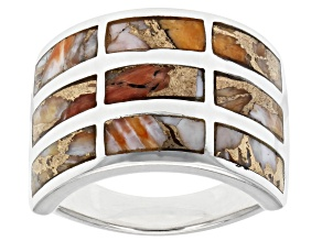 Spiny Oyster Shell In Matrix Rhodium Over Sterling Silver Inlay Ring