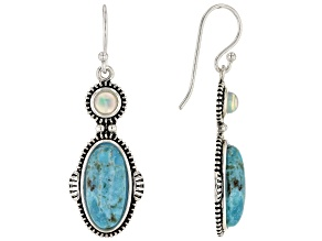 Turquoise & Opal Rhodium Over Sterling Silver Earrings