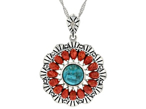 "Turquoise with Pear Shaped Coral Rhodium Over Sterling Silver Pendant with 18"" Chain"