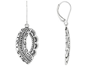 Detailed Rhodium Over Sterling Silver Dangle Earrings