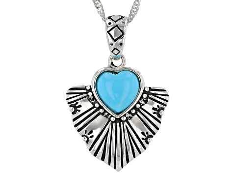 "Sleeping Beauty Turquoise Rhodium Over Silver Pendant With 18"" Chain"