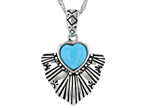 """Sleeping Beauty Turquoise Rhodium Over Silver Pendant With 18"""" Chain"""