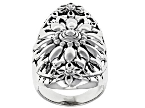Rhodium Over Sterling Silver Floral Design Dome Ring