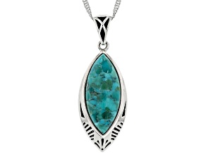 "Blue Turquoise Rhodium Over Sterling Silver Pendant With 18"" Chain"