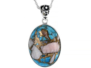Oval Blended Turquoise & Pink Opal Rhodium Over Silver Pendant With Chain