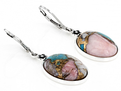 Blended Turquoise & Pink Opal Rhodium Over Silver Earrings