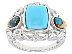 Sleeping Beauty Turquoise & Spiny Oyster Shell  Rhodium Over Sterling Silver Ring