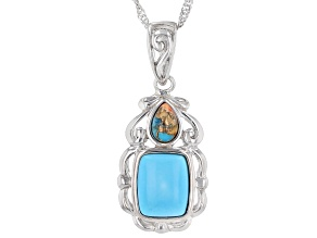 "Sleeping Beauty Turquoise & Spiny Oyster Shell Rhodium Over Silver Pendant With 18"" Chain"