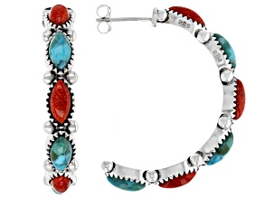 Turquoise and Red Sponge Coral Rhodium Over Silver J Hoop Earrings