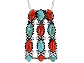 "Turquoise and Red Sponge Coral Rhodium Over Silver Slide Pendant With 18"" Chain"