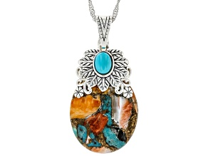 "Sleeping Beauty Turquoise and Spiny Shell Rhodium Over Silver Enhancer With 18"" Chain"