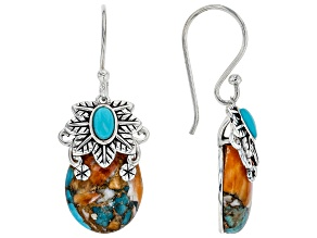 Blended Shell and Turquoise Rhodium Over Silver Earrings