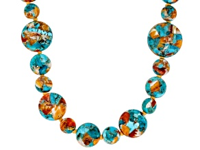 Blended Turquoise and Spiny Oyster Shell Bead Strand Necklace