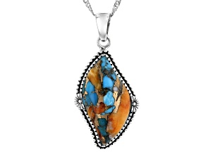 "Blended Turquoise and Oyster Shell Rhodium Over Silver Pendant With 18"" Chain"