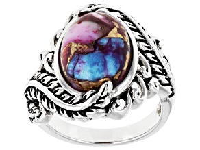 Blended Turquoise and Purple Spiny Oyster Shell Rhodium Over Silver Ring