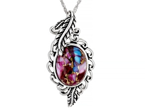 "Blended Turquoise & Purple Oyster Shell Rhodium Over Silver Pendant With 18"" Chain"